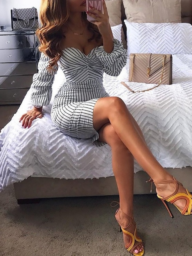Stripes Off Shoulder Puff Sleeve Bodycon Dress