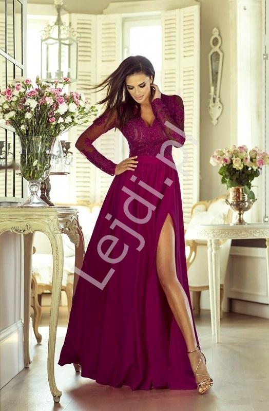 1ff81618db Burgundowa długa wieczorowa sukienka z rozcięciem seksownie uka.. na ...