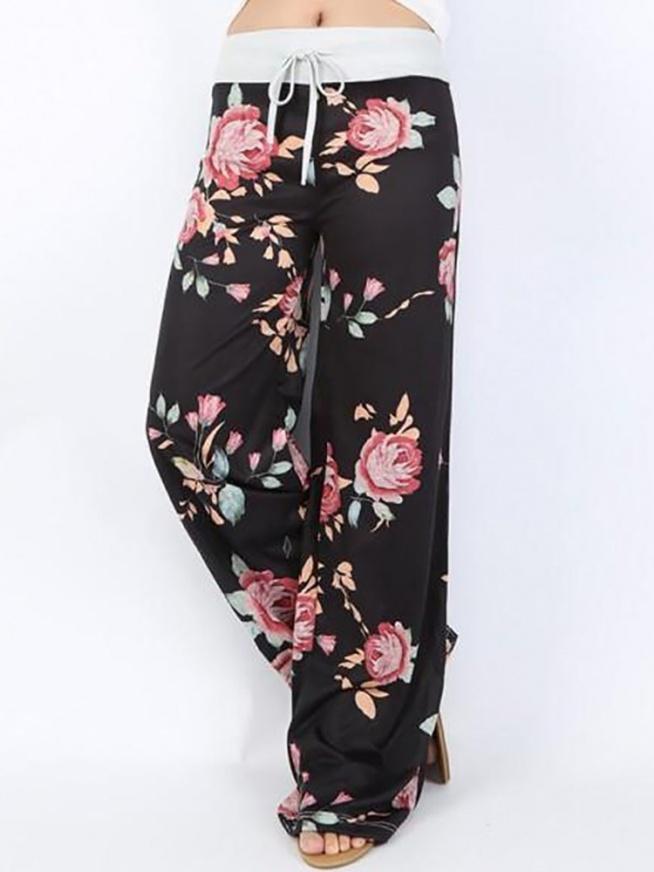 Fashion Floral Print Shirring Waist Flared Pants Rozmiar: S, M, L, XL, 2XL, 3XL Kolor: black