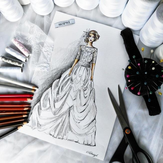 Indywidualny projekt sukni ślubnej <3 SOPSI