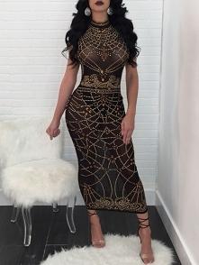 Digital Print Sleeveless Maxi Bodycon Dress Rozmiar: S, M, L, XL Kolor: black