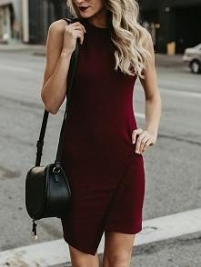 Irregular Hem Sleeveless Plain Mini Dress Rozmiar: S, M, L, XL Kolor: Wine red
