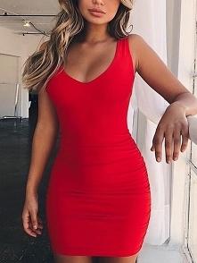 Low Cut Shirring Open Back Bodycon Dress Rozmiar: S, M, L, XL Kolor: red