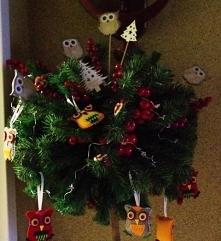 Drzewko Boże Narodzenie. Sowa.