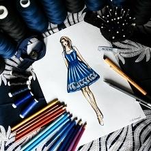 Indywidualny projekt rozkloszowanej sukienki z kontrafałdami, zapinana na szy...