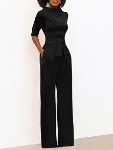 Solid Self Belted Wide Leg Jumpsuits Rozmiar: S, M, L, XL, 2XL Kolor: black