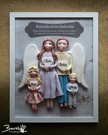 Anielska rodzinka z zimnej porcelany