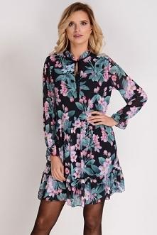 AVARO Szyfonowa sukienka oversize w kwiaty SU-1240