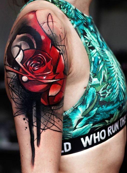 Róża Tatuaż Na Ramieniu Na Tatuaże Zszywkapl