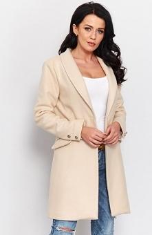 Roco P002 płaszcz beżowy Kobiecy elegancki płaszcz damski, wykonany z wysokiej jakości flauszu, płaszcz zapinany z przodu na dwa guziki