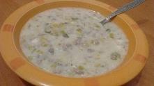 Zupa porowa z mięsem mielonym i makaronikiem ryżowym