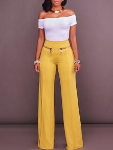 Stylish Zipper Patchwork High Waist Flared Pants Rozmiar: S, M, L, XL Kolor: ...
