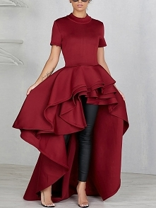 Flounce Dip Hem Irregular Casual Dress  Rozmiar: M, L, XL, 2XL Kolor: red