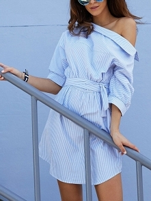 Stripes Skew Collar Belted Shirt Dress Rozmiar: S, M, L Kolor: sky blue