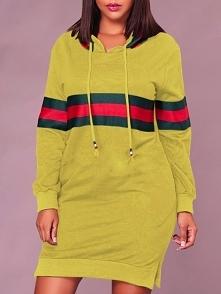 Contrast Wide Stripes Slit Hooded Sweatshirt Dress  Rozmiar: S, M, L, XL Kolo...