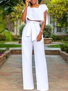 Fashion Cut Out Tied Front Pantsuits Rozmiar: S, M, L, XL Kolor: white