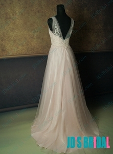 JW14091B brzoskwiniowy, różowy, zwiewny, połyskujący, złudzenie, dekolt, tiul, suknia ślubna