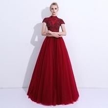 Piękne Sukienki Na Bal 2018 Princessa Z Koronki Kwiat Frezowanie Wysokiej Szyi Bez Pleców Kótkie Rękawy Długie Sukienki Wizytowe