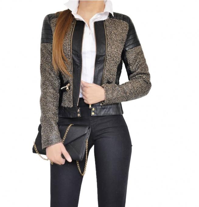 Kurtka Damska Chanelka Skóra Materiał Melanż Wiosna Jesień Zima 2018 Nowy Model #127 FASHIONAVENUE.PL