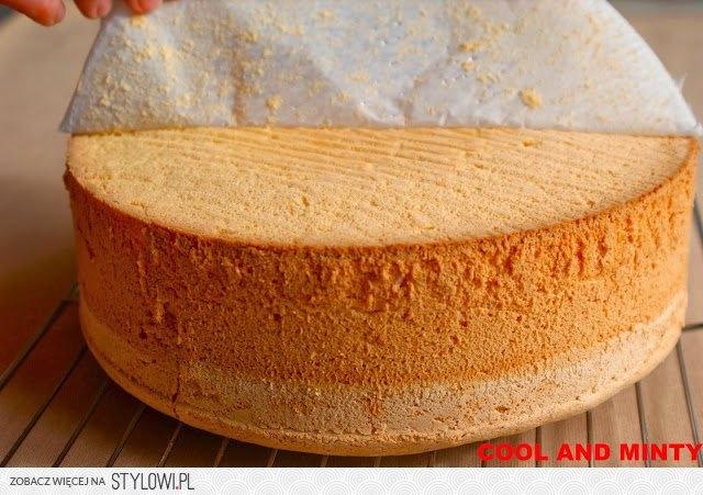 Biszkopt pieczony według tego przepisu jest genialny...  na foremkę o średnicy 23-24 cm (upieczony biszkopt kroimy na 3 blaty) lub na foremkę o wymiarach 21/30 cm (upieczony biszkopt kroimy na 2 blaty):  7 jajek 1 szklanka drobnego cukru do wypieków 1 szklanka mąki pszennej tortowej 1/3 szklanki mąki ziemniaczanej  WYKONANIE:  Wszystkie składniki powinny mieć temp. pokojową! Dno foremki wykładamy papierem do pieczenia, boków nie smarujemy. Piekarnik rozgrzewamy do temp. 170༠C - bez termoobiegu.  Do szklanej miski przesiewamy mąkę pszenną i ziemniaczaną. Mieszamy. Żółtka oddzielamy od białek. Białka ubijamy na wysokich obrotach miksera. Pod koniec ubijania stopniowo łyżka po łyżce dosypujemy cukier. Kiedy ubita piana będzie sztywna i lśniąca zmniejszamy obroty miksera na najniższe i małymi porcjami dolewamy roztrzepane żółtka. Wyłączamy mikser i zaczynamy dosypywać przesiane mąki. Mieszamy bardzo delikatnie przy użyciu metalowej łyżki lub szpatułki. Staramy się nie zniszczyć delikatnej struktury piany.  Ciasto przekładamy do formy i wstawiamy do nagrzanego piekarnika. Przez pierwsze 20 min. nie otwieramy drzwiczek. Po ok 35-40 min. biszkopt powinien być upieczony. Gotowość ciasta sprawdzamy drewnianym patyczkiem. Upieczony biszkopt natychmiast wyjmujemy z piekarnika i energicznie rzucamy go na blat (w tortownicy) z wysokości ok. 50 cm. Wyjmujemy z formy dopiero gdy całkowicie ostygnie. Boki oddzielamy nożykiem.
