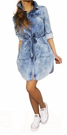 Modna Asymetryczna Koszulowa Sukienka Jeansowa Szmizjerka Jeans Wiosna Lato Jesień 2018 model #136 FASHIONAVENUE.PL