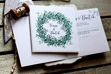 zaproszenie zielone listki ...