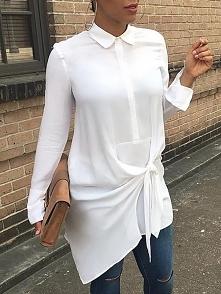 Stylish Bowtie Tied Asymmetrical Women's Blouse Rozmiar: S, M, L, XL Kolor: white