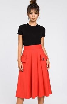 BE B046 spódnica czerwona Elegancka spódnica o długości midi, spódnica świetn...
