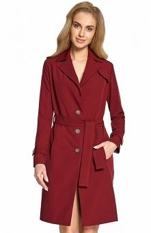 Style S094 płaszcz typu trencz bordowy Elegancki płaszcz damski dostepny w kilku klasycznych odcieniach, przy mankietach posiada ozdobne patki, zapinany z przodu na guziki