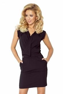 Czarna sukienka z kopertowym zakładanym dekoltem na zatrzask. Marka numoco :) sukienka posiada 2 kieszonki.