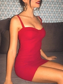 Sexy Solid Sweetheart Neck Bodycon Slip Dress Rozmiar: S, M, L, XL Kolor: red