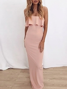 Solid Color Flared Strapless Maxi Dress Rozmiar: S, M, L, XL Kolor: pink