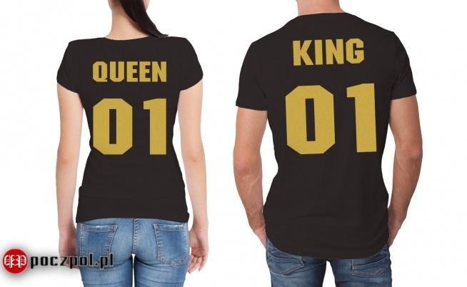 Koszulki dla par - QUEEN & KING - złoty nadruk
