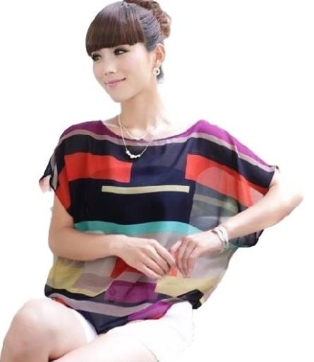 Szyfonowa koszulka w paski o ciekawych kolorach . Kliknij w zdjęcie aby zobaczyć produkt