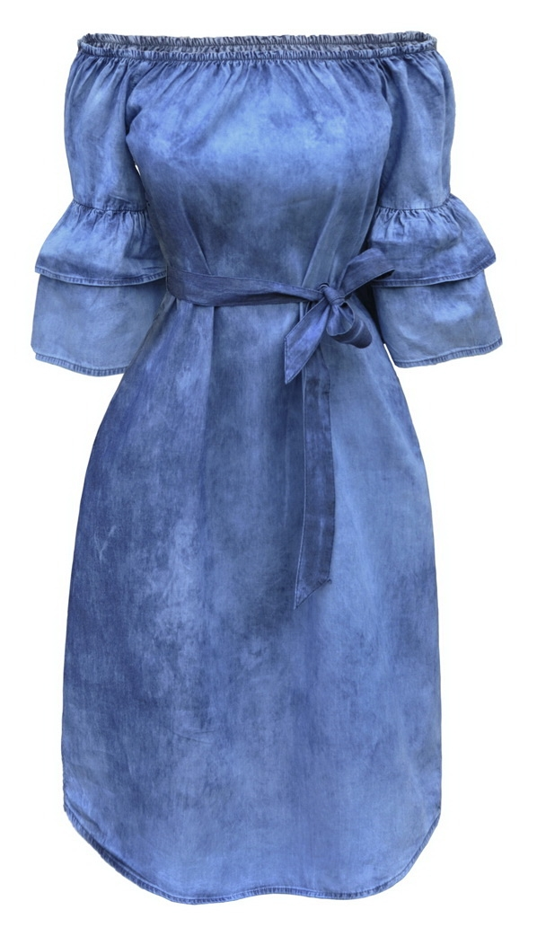 Sukienka Jeansowa Hiszpanka Odsłonięte Ramiona Jeans Wiosna Lato #141 FASHIONAVENUE.PL