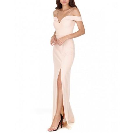 Kobieca beżowa długa sukienka z rozcięciem i ciekawym dekoltem