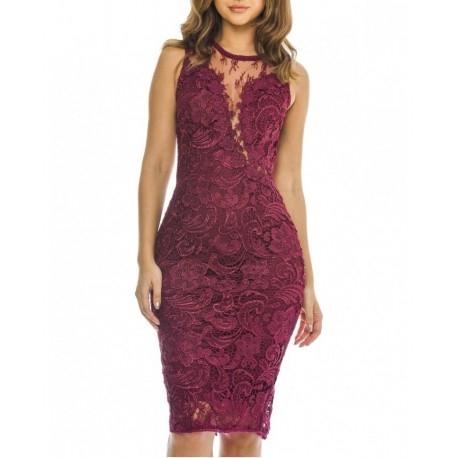 Ekskluzywna bordowa koronkowa sukienka midi z siateczką na