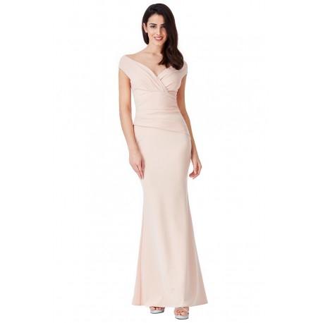 Beżowa długa sukienka na wesele z efektownym marszczeniem w talii