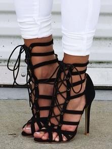 Stylish Ladder Eyelet Anckle Thin Heel Sandals Rozmiar: US4.5, US5.5, US6, US...