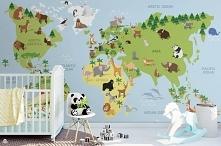 Kolorowa mapa świata dla dzieci (fototapeta: Myloview)