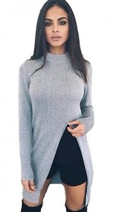 Świetny sweter z rozcięciem...