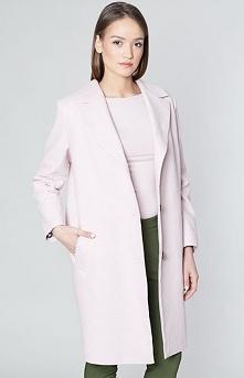 Click Fashion Loberia płaszcz Elegancki bawełniany płaszcz, o prostym kroju, utrzymany w pięknym delikatnym pudrowym odcieniu, na podszewce