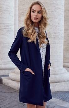 Style S071 płaszcz blazer granatowy Rewelacyjny płaszczyk damski, dostepny w ...