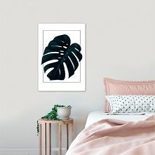 Modny plakat z liściem tropikalnym. Dekoracja cudownie prezentuje się w minim...