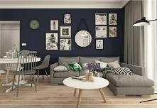 Ciemna ściana w salonie - stylowo
