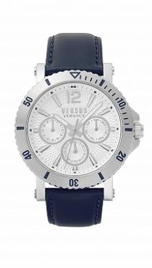 Versus Versace VSP520118 męski zegarek na niebieskim pasku ze skóry, którego ...