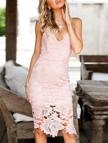 Guipure Lace Overlay Bodycon Slip Dress Rozmiar: S, M, L, XL Kolor: pink