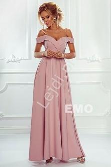 Sukienka z odkrytymi ramionami | długa suknia jasny róż ELIZABETH Piękna dług...