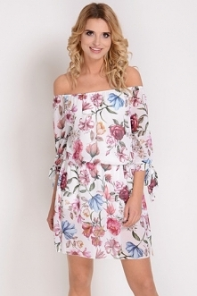AVARO Kobieca rozkloszowana sukienka SU 1347, Kolor: biały
