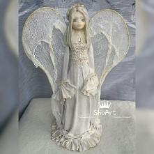 Elf anioł zimna porcelana oraz utwardzona tkanina-projekt autorski MadamAngel